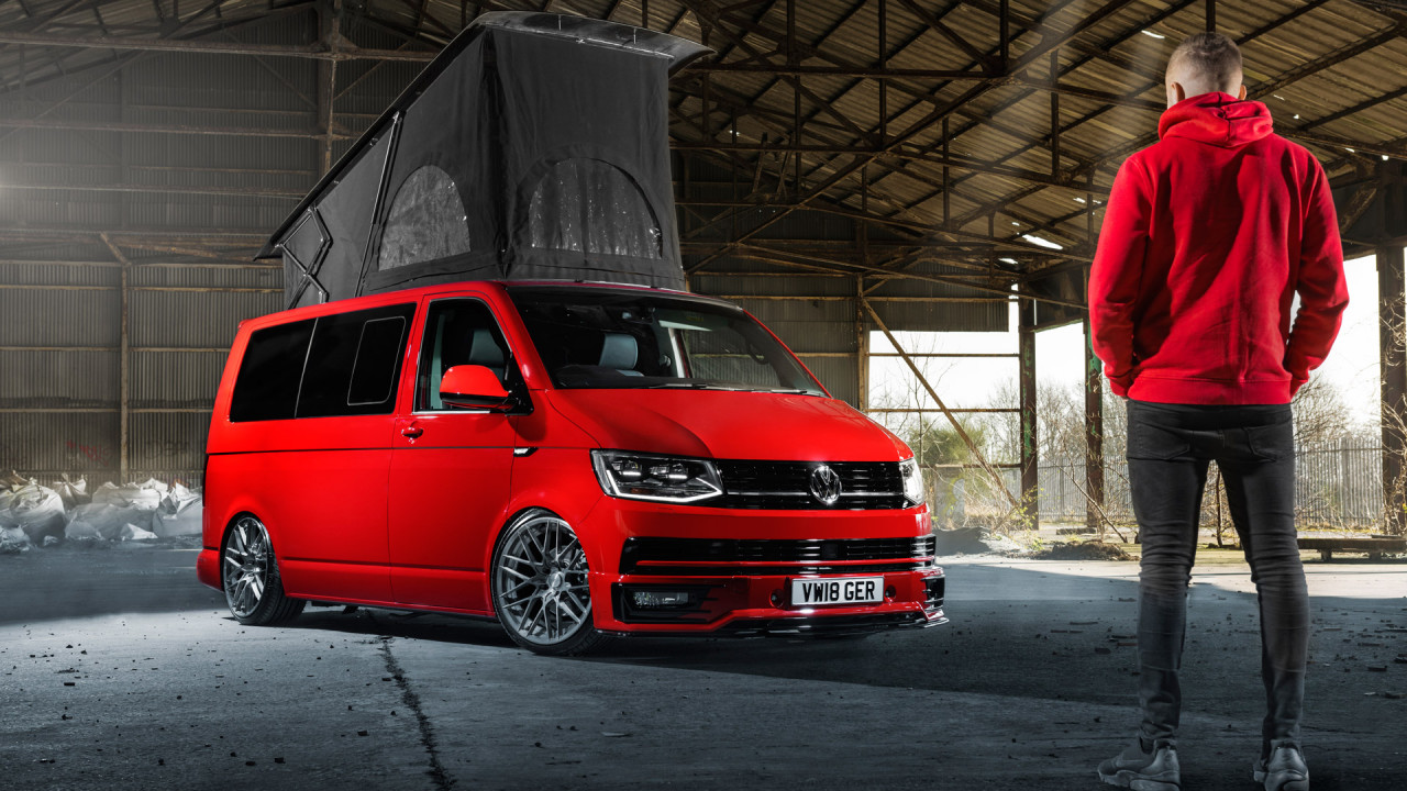 automotive photographer sheffield red vw transporter t6