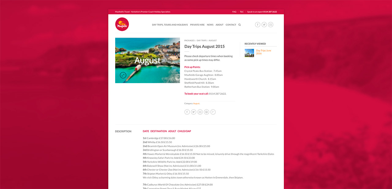 Maxfields Travel Website Design Wipdesigns 7
