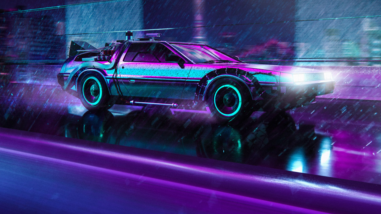 DMC DeLorean Front Right Neon Nights by Wipdesigns