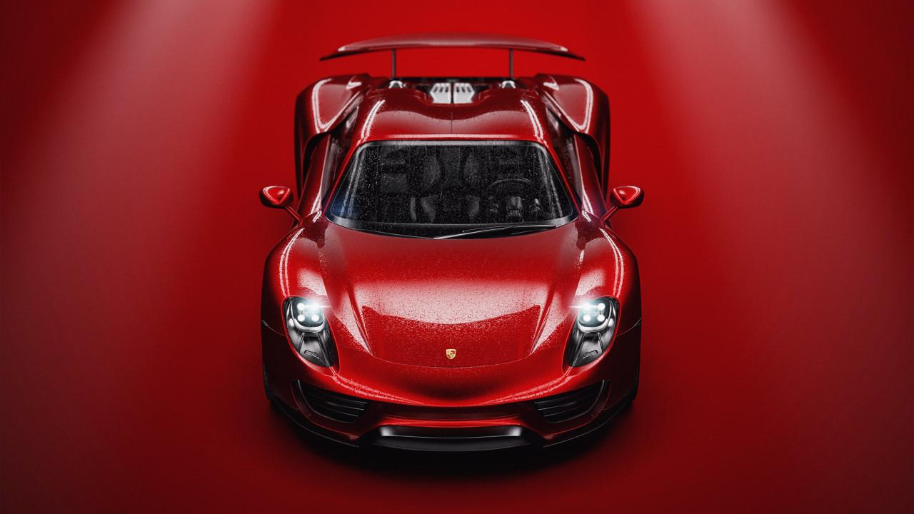 Porsche Red 3D Render CGI Wipdesigns